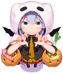 1girl abmayo absurdres bangs bat_wings black_footwear black_neckwear black_ribbon black_shirt blue_hair blush candy commentary_request fake_wings fingernails food frills from_above ghost_costume halloween halloween_costume hatsune_miku highres hood hood_up long_hair looking_at_viewer nail_polish necktie orange_nails orange_neckwear orange_skirt red_nails ribbon shirt short_sleeves simple_background skirt smile solo spring_onion tie_clip twintails vocaloid white_background wings