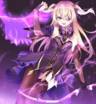 1girl :d animal arm_up asymmetrical_legwear bangs bare_shoulders bird black_gloves black_leotard blonde_hair bow bow_(weapon) breasts bridal_gauntlets brown_legwear commentary_request eyepatch fischl_(genshin_impact) garter_straps genshin_impact gloves glowing hair_bow hair_over_one_eye highres holding holding_bow_(weapon) holding_weapon leotard long_hair looking_at_viewer open_mouth purple_bow sekira_ame single_leg_pantyhose single_thighhigh small_breasts smile solo strapless strapless_leotard thigh-highs two_side_up very_long_hair weapon