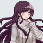 1girl bangs blunt_bangs blush brown_eyes commentary criis-chan danganronpa english_commentary grey_background hand_up long_hair long_sleeves looking_at_viewer lowres mole mole_under_eye open_mouth purple_hair simple_background sleeves_past_wrists solo striped super_danganronpa_2 sweater tears tsumiki_mikan turtleneck upper_body very_long_hair