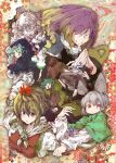 1boy 6+girls anchor animal_ears black_hair blonde_hair blue_hair closed_eyes daruia_(sabitare) flower green_eyes green_hair grey_hair hair_ornament hat hijiri_byakuren hood houjuu_nue jewelry kasodani_kyouko kumoi_ichirin long_sleeves looking_at_viewer multiple_girls murasa_minamitsu nazrin necklace pants praying purple_hair red_eyes skirt smile toramaru_shou touhou turtleneck ufo undefined_fantastic_object unzan yellow_eyes