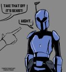 1girl 1other antenna_mast armor breastplate commentary deputy_rust english_text grey_background helmet highres mandalorian pointing pointing_at_another solo_focus speech_bubble star_wars the_mandalorian