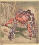 6+boys armor assault_rifle backpack bag blood cliff death dog extra_legs firing forest gun helmet highres holding holding_gun holding_weapon looking_down mecha military miyagawa_akira_(artist) multiple_boys nature open_hand original rifle science_fiction shell_casing turret weapon