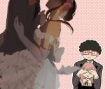 2boys 2girls afro ahoge alex_(sandora) ania_(spy_x_family) arm_around_waist black_dress black_hair black_neckwear black_suit blurry blurry_foreground breasts child closed_mouth commentary covering_another's_eyes cowboy_shot dress elbow_gloves expressionless flower formal frankie_(spy_x_family) frilled_dress frills glasses gloves hair_flower hair_ornament hairband head_out_of_frame holding_hands horn_ornament horns hug jitome long_sleeves looking_at_another medium_breasts medium_hair multiple_boys multiple_girls neck_ribbon necktie off-shoulder_dress off_shoulder outline pink_background pink_hair polka_dot polka_dot_background red-framed_eyewear red_ribbon ribbon short_hair sidelocks simple_background smile spy_x_family striped striped_neckwear striped_suit suit tasogare_(spy_x_family) vertical-striped_jacket wedding_dress white_dress white_gloves yoru_briar