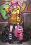 1girl backpack backpack_removed bag bangs baseball_bat black_footwear black_skirt boots breasts closed_mouth commentary_request double_bun ebinomi full_body hair_ornament hand_up highres holding holding_bag holding_knife hood hood_down hoodie jewelry knee_boots kneehighs knife long_hair long_sleeves looking_at_viewer nail nail_bat necklace original outdoors pink_bag pink_footwear pink_hair pleated_skirt print_bag shoes skirt smile solo standing star_(symbol) striped striped_legwear trash_bag twintails yellow_hoodie