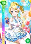 ayase_eli blonde_hair blue_eyes blush character_name dress long_hair love_live!_school_idol_festival ponytail smile wink