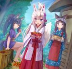 3girls :d absurdres animal_ears apron bangs black_hair blue_kimono blush bow bowl brown_eyes cat_ears closed_mouth commentary_request day eyebrows_visible_through_hair food fox_ears fox_girl fox_tail hair_between_eyes hakama highres holding holding_bowl holding_food iroha_(iroha_matsurika) japanese_clothes kimono long_sleeves looking_at_viewer miko multiple_girls open_mouth original outdoors outstretched_arms polka_dot polka_dot_bow purple_kimono red_apron red_hakama short_sleeves silver_hair sitting smile standing tail tail_raised tasuki tomato tree_stump violet_eyes waist_apron white_bow white_kimono wide_sleeves