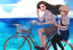 2girls asymmetrical_bangs bangs bicycle black_footwear black_legwear black_neckwear blonde_hair blue_eyes blue_skirt braid brown_eyes brown_hair brown_skirt closed_mouth clouds cloudy_sky commentary darjeeling_(girls_und_panzer) day dress_shirt girls_und_panzer ground_vehicle leaf light_smile loafers long_hair looking_at_another looking_at_viewer miniskirt mityubi multiple_girls multiple_riders necktie nishi_kinuyo ocean open_mouth outdoors pantyhose plaid plaid_skirt pleated_skirt revision riding salute school_uniform shirt shoes short_hair sidesaddle sitting skirt sky smile sparkle st._gloriana's_school_uniform tied_hair twin_braids twitter_username white_shirt