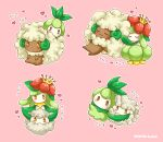 1girl blush cotton_ball cottonee cuddling dark_skin evolution_line gen_5_pokemon grass heart highres lilligant millipen_(medium) mono_land no_humans number petilil pink_background pokemon pokemon_(game) pokemon_bw power_connection sit_on_another's_hair traditional_media whimsicott