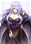 1girl absurdres alternate_costume balasdan breasts camilla_(fire_emblem) dress fire_emblem fire_emblem_fates fire_emblem_heroes hand_on_hip hand_on_lap highres jewelry large_breasts looking_at_viewer necklace purple_hair simple_background smile solo violet_eyes