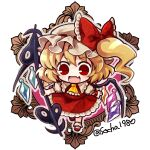 1girl ascot bangs blonde_hair bow chibi crystal dress eyebrows_visible_through_hair fang flandre_scarlet frilled_dress frills full_body hat hat_bow holding laevatein_(tail) looking_down medium_hair mob_cap open_mouth red_bow red_dress red_eyes red_footwear short_sleeves side_ponytail smile socha solo tail touhou twitter_username white_headwear white_legwear wings yellow_neckwear