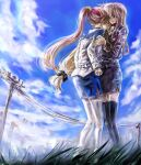 2girls blonde_hair blue_sky clouds cloudy_sky comforting couple ego6 fate_testarossa frown hug long_hair looking_at_another lyrical_nanoha mahou_shoujo_lyrical_nanoha_strikers military military_uniform multiple_girls red_eyes side_ponytail sky takamachi_nanoha uniform very_long_hair yuri