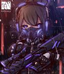 1girl absurdres assault_rifle black_sclera blue_eyes brown_hair cyberpunk cyborg eyebrows_visible_through_hair fingerless_gloves gas_mask gloves gun headphones highres jasonchin96 looking_at_viewer neon_trim original rain rifle science_fiction scope solo weapon
