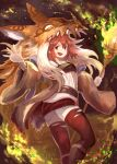 1girl breasts brown_robe duel_monster feet_out_of_frame fire hand_up headdress hiita holding holding_staff ishii_(young-moon) long_hair long_sleeves miniskirt open_clothes open_hand open_mouth open_shirt orange_eyes orange_hair pom_pom_(clothes) ribbon robe skirt small_breasts solo staff thigh-highs torn_clothes torn_legwear wide_sleeves yu-gi-oh! zettai_ryouiki