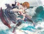1girl bangs black_legwear blue_eyes blurry blurry_background brown_hair clenched_hand closed_mouth commentary day depth_of_field detached_sleeves diffraction_spikes fighting_stance gegeron greaves green_skirt grey_footwear grey_sky hairband headgear hiei_(kantai_collection) highres japanese_clothes kantai_collection looking_to_the_side miniskirt nontraditional_miko orange_hairband outdoors plaid plaid_skirt ribbon-trimmed_sleeves ribbon_trim rigging shirt short_hair skirt sleeveless sleeveless_shirt smirk solo splashing standing thigh-highs thigh_strap waves white_shirt white_sleeves