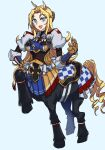 1girl :d animal_ears armor bangs black_bodysuit blonde_hair blue_background blue_eyes blue_skirt bodysuit braid breasts centaur checkered commentary_request drill_hair eyebrows_visible_through_hair french_braid full_body gauntlets hand_on_hip highres horse_ears horse_tail iyahon_no_gomu large_breasts long_hair looking_at_viewer monster_girl monster_musume_no_oisha-san neck_ribbon open_mouth parted_bangs procreate_(medium) puffy_short_sleeves puffy_sleeves red_neckwear ribbon saddle short_sleeves sidelocks simple_background skirt smile solo standing standing_on_three_legs tail tisalia_scythia