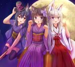 3girls :d :o absurdres animal_ear_fluff animal_ears arm_up bangs black_hair black_headwear blue_eyes blush bow broom broom_riding brown_eyes brown_hair cat_ears commentary_request eyebrows_visible_through_hair fang fox_ears fox_girl fox_shadow_puppet fox_tail full_moon hair_between_eyes hair_bow hair_ornament hairclip hakama halloween hand_on_headwear hand_up hands_up hat highres iroha_(iroha_matsurika) japanese_clothes kimono long_hair long_sleeves looking_at_viewer miko mini_hat moon multiple_girls obi open_mouth original pumpkin purple_kimono red_hakama sash short_sleeves silver_hair sitting smile striped striped_bow striped_kimono tail tasuki vertical-striped_kimono vertical_stripes violet_eyes white_kimono wide_sleeves x_hair_ornament