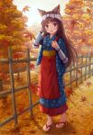 1girl absurdres animal_ear_fluff animal_ears apron autumn_leaves bamboo_fence blue_eyes blue_kimono blush bow brown_footwear brown_hair cat_ears commentary_request day fence full_body hand_up highres iroha_(iroha_matsurika) japanese_clothes kimono leaf long_hair looking_at_viewer maple_leaf obi original outdoors parted_lips polka_dot polka_dot_bow red_apron sash short_sleeves solo standing tasuki tree very_long_hair waist_apron white_bow zouri