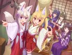 5girls :d absurdres animal_ear_fluff animal_ears bangs barefoot bell black_hair blonde_hair blue_eyes blush borrowed_character breasts brown_eyes clover_hair_ornament commentary_request eyebrows_visible_through_hair fang four-leaf_clover_hair_ornament fox_ears fox_girl fox_shadow_puppet fox_tail green_eyes hair_between_eyes hair_ornament hair_ribbon hairclip hakama hakama_skirt highres holding holding_instrument indoors instrument instrument_request iroha_(iroha_matsurika) japanese_clothes jingle_bell kimono long_sleeves low_twintails microphone miko multiple_girls nose_blush obi open_mouth original ponytail purple_hakama purple_kimono red_eyes red_hakama red_ribbon ribbon ribbon-trimmed_legwear ribbon-trimmed_sleeves ribbon_trim sash sidelocks silver_hair sitting small_breasts smile standing standing_on_one_leg table tail thigh-highs twintails violet_eyes white_kimono white_legwear wide_sleeves yagasuri