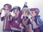 4boys :d arm_up backpack bag baseball_cap beanie black_hair black_wristband brendan_(pokemon) brown_eyes brown_hair closed_mouth ethan_(pokemon) fingerless_gloves gloves grey_eyes hand_in_pocket hat jacket light_blush long_sleeves lucas_(pokemon) male_focus multiple_boys open_mouth oshi_taberu pants pokemon pokemon_(game) pokemon_dppt pokemon_emerald pokemon_frlg pokemon_hgss pokemon_platinum pokemon_rse red_(pokemon) red_headwear scarf short_sleeves smile tongue vs_seeker white_background white_bag white_headwear white_scarf yellow_bag