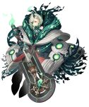 1girl bare_shoulders dark_persona empty_eyes expressionless eyepatch full_body green_hair half-nightmare holding holding_sword holding_weapon horns ji_no little_match_girl_(sinoalice) looking_at_viewer official_art oversized_clothes pale_skin red_eyes scarf single_horn sinoalice solo sword transparent_background weapon