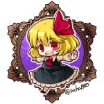 1girl ascot bangs black_skirt black_vest blonde_hair brown_footwear chibi eyebrows_visible_through_hair frilled_skirt frills full_body hair_ribbon long_sleeves looking_at_viewer open_mouth outstretched_arms red_eyes red_neckwear red_ribbon ribbon rumia shirt short_hair skirt smile socha solo spread_arms touhou twitter_username vest white_legwear white_shirt