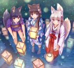 3girls :d absurdres animal_ears bangs barefoot black_hair blue_eyes blue_kimono blush bow brown_eyes brown_hair cat_ears closed_mouth commentary_request eyebrows_visible_through_hair floral_print flower fox_ears fox_girl fox_tail hair_flower hair_ornament hakama highres holding iroha_(iroha_matsurika) japanese_clothes kimono lantern lantern_on_liquid leaning_forward long_hair long_sleeves miko multiple_girls obi open_mouth original outdoors paper_lantern pink_flower print_kimono purple_flower red_bow red_hakama sash shallow_water short_kimono short_sleeves silver_hair smile standing tail tail_raised tasuki very_long_hair violet_eyes wading water white_flower white_kimono wide_sleeves
