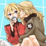 2girls blonde_hair blue_eyes bomber_jacket closed_eyes cup darjeeling_(girls_und_panzer) drinking futo_(hbnn328) girls_und_panzer hand_on_another's_head hug jacket kay_(girls_und_panzer) long_hair military military_uniform multiple_girls saunders_military_uniform short_hair smile st._gloriana's_military_uniform teacup thigh-highs uniform white_legwear yuri