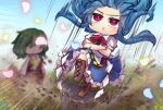2girls :> blue_flower blue_hair blue_skirt blue_sky blush boots bow bright_pupils brown_footwear celestial chibi commentary_request cross-laced_footwear crossed_arms dirt dust faceless field flower flower_field frilled_skirt frills frown full_body glowing_petals green_hair hair_up hinanawi_tenshi holding holding_umbrella kazami_yuuka keystone knee_boots lace-up_boots landing long_hair long_sleeves masochism motion_blur motion_lines multiple_girls outdoors parasol petals pink_flower plaid plaid_skirt plaid_vest puffy_short_sleeves puffy_sleeves red_bow red_eyes red_neckwear red_skirt red_vest rope rose_petals shards shide shimenawa shirt short_hair short_sleeves skirt skirt_set sky smile speed_lines standing standing_on_one_leg touhou umbrella unime_seaflower v-shaped_eyebrows vest white_pupils white_shirt wind yellow_flower yellow_neckwear