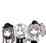 3girls akara_kai akatsuki_(kantai_collection) anchor_symbol atlanta_(kantai_collection) commentary_request dress_shirt earrings flat_cap garrison_cap hair_flaps hat jewelry kantai_collection long_hair long_sleeves multiple_girls muted_color neckerchief negative_space pointing remodel_(kantai_collection) sailor_collar scarf school_uniform serafuku shirt skirt star_(symbol) star_earrings suspender_skirt suspenders two_side_up upper_body yuudachi_(kantai_collection)