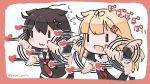 2girls :3 afterimage black_hair black_ribbon black_serafuku black_skirt blonde_hair border braid chibi commentary_request hair_flaps heart kantai_collection multiple_girls neckerchief necktie no_nose pink_border pleated_skirt poipoi_purin red_neckwear remodel_(kantai_collection) ribbon scarf school_uniform serafuku shigure_(kantai_collection) single_braid skirt throwing twitter_username white_scarf yuudachi_(kantai_collection) |_| ||_||