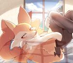 1girl animal_ear_fluff animal_ears ass blue_sky blush braixen closed_mouth clouds commentary_request day fox_ears fox_tail furry gen_6_pokemon half-closed_eyes happy highres indoors legs_up looking_away looking_to_the_side lying on_back on_bed pokemon pokemon_(creature) red_eyes sky smile solo tail tree window yupo_0322