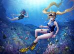 2girls ag-1_nereid air_bubble arin_sel blonde_hair blue_hair blue_swimsuit braid breasts bubble coral coral_reef diving_mask fish flippers freediving full_body goggles goggles_on_head green_eyes highres large_breasts last_origin light_rays long_hair multiple_girls one-piece_swimsuit smile submerged swimming swimsuit triaina twin_braids twintails underwater very_long_hair