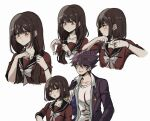 1boy 1girl alternate_hair_length alternate_hairstyle bangs blush bob_cut bow brown_hair closed_mouth collarbone collared_shirt commentary criis-chan cropped_torso cutting_hair danganronpa ear_piercing expressionless grey_bow hair_between_eyes hair_ornament hairclip hand_up harukawa_maki holding holding_scissors jacket jacket_on_shoulders long_hair long_sleeves looking_away low_twintails mole mole_under_eye momota_kaito multiple_views new_danganronpa_v3 open_mouth piercing print_shirt purple_jacket red_shirt sailor_collar school_uniform scissors shirt short_hair simple_background space_print spiky_hair starry_sky_print twintails twitter_username upper_body white_background white_shirt
