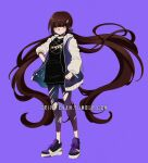 1girl bangs black_shirt blush criis-chan danganronpa full_body hair_ornament hairclip hand_on_hip harukawa_maki holding holding_phone hood hooded_jacket jacket jewelry long_hair long_sleeves looking_at_viewer low_twintails mole nasa_logo new_danganronpa_v3 open_clothes phone purple_background purple_scrunchie raglan_sleeves red_eyes scrunchie shirt shoes sneakers solo space_print star_(symbol) star_hair_ornament starry_sky_print symbol_commentary torn_clothes torn_legwear twintails twitter_username very_long_hair