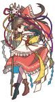 1girl bangs boots bow brown_eyes brown_footwear brown_hair closed_mouth detached_sleeves flower frilled_bow frilled_hair_tubes frills full_body gohei hair_bow hair_tubes hakurei_reimu highres holding japanese_clothes leaf long_hair looking_at_viewer miko red_bow red_ribbon red_shirt red_skirt ribbon ribbon-trimmed_sleeves ribbon_trim shirt simple_background skirt smile socha solo touhou twitter_username white_background wide_sleeves yellow_ribbon