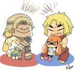 2boys 2girls animal_crossing artist_request blonde_hair castlevania chibi dougi headband highres hug inkling isabelle_(animal_crossing) karate_gi ken_masters multiple_boys multiple_girls opposing_sides orange_hair protecting shirt signature simon_belmont size_difference sleeveless source_request splatoon_(series) street_fighter super_smash_bros. t-shirt topknot
