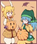 2girls :d apron bangs bat between_fingers blonde_hair blue_hair blunt_bangs blush border carving closed_eyes closed_mouth commentary_request double_bun eyebrows_visible_through_hair green_apron haniwa_(statue) haniyasushin_keiki head_scarf holding jack-o'-lantern joutouguu_mayumi long_hair looking_down magatama_necklace motion_lines multiple_girls nikori open_mouth orange_background puffy_short_sleeves puffy_sleeves pumpkin short_hair short_sleeves sitting skirt smile smug standing stool sweater touhou vambraces yellow_eyes yellow_skirt yellow_sweater