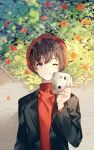 1boy absurdres bangs black_jacket blush brown_hair camera flower hand_up highres holding holding_camera jacket long_hair long_sleeves looking_at_viewer male_focus one_eye_closed original parted_lips plant red_flower red_headwear red_sweater short_hair smile solo sweater symbol_commentary upper_body yuhi_(hssh_6)