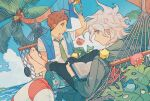 2boys ahoge bag barefoot beach blue_sky book brown_eyes brown_hair clouds coconut_tree collared_shirt creature crossed_legs cup danganronpa day drinking_straw fern green_neckwear grey_eyes hammock hinata_hajime holding holding_cup komaeda_nagito lifebuoy long_sleeves looking_back lying male_focus messy_hair multiple_boys munya_(pic) necktie open_book outdoors palm_tree parted_lips sample shirt short_hair sky super_danganronpa_2 towel towel_around_neck tree water white_hair white_shirt