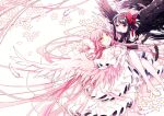 2girls absurdly_long_hair akemi_homura akuma_homura angel_wings arm_support ayumaru_(art_of_life) bare_shoulders black_feathers black_gloves black_hair black_wings chin_rest cleavage_cutout clothing_cutout commentary_request dot_nose dress elbow_gloves eyebrows_visible_through_hair facing_viewer feathered_wings feathers flower frilled_dress frilled_sleeves frills gloves goddess_madoka hair_ribbon half-closed_eyes hands_on_own_chest happy high_heels kaname_madoka knees_together_feet_apart layered_dress legs_up light_blush light_particles light_smile long_dress long_hair looking_at_another looking_down looking_up lying mahou_shoujo_madoka_magica mahou_shoujo_madoka_magica_movie multiple_girls on_back on_stomach parted_lips petals pink_feathers pink_hair pink_legwear pink_wings red_ribbon ribbon shiny shiny_hair simple_background straight_hair two_side_up very_long_hair violet_eyes white_background white_dress white_feathers white_flower white_footwear white_gloves white_ribbon wide_shot wide_sleeves winged_footwear wings yellow_eyes