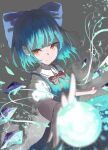 1girl 38_(sanjuuhachi) alternate_eye_color blue_bow blue_dress blue_hair blurry blurry_foreground bow bowtie cirno closed_mouth collared_shirt commentary_request depth_of_field dress energy_ball eyebrows_visible_through_hair grey_background hair_bow highres ice ice_wings outstretched_arm perspective puffy_short_sleeves puffy_sleeves red_bow red_eyes red_neckwear shirt short_hair short_sleeves simple_background smile smoke solo touhou upper_body wings