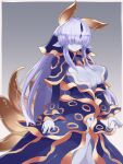 1girl blue_dress blue_skin blush breasts capelet commentary covered_eyes dress facing_viewer grey_background hair_over_eyes highres horns large_breasts light_smile long_hair monster_girl monster_girl_encyclopedia open_clothes open_dress pointy_ears purple_hair simple_background slug_girl solo tritonia_(monster_girl_encyclopedia) very_long_hair wide_sleeves yonaga