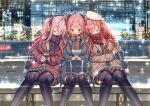 3girls ahoge akusema azur_lane bag black_legwear blush bow breasts bremerton_(azur_lane) christmas_tree city color_connection commentary_request hair_bow head_on_another's_shoulder highres honolulu_(azur_lane) large_breasts long_hair long_sleeves look-alike multiple_girls power_lines red_eyes redhead scarf sleeping sleeping_on_person snowing thigh-highs trait_connection twintails zara_(azur_lane)