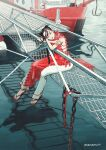 1girl aburage_(motimotigg20) bangs black_hair boat braid chain double_bun frills full_body highres original outdoors pants red_footwear red_lips red_nails rope sandals shadow signature sleeveless solo twin_braids water watercraft white_pants