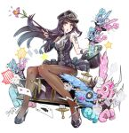 1girl 1other asymmetrical_gloves black_hair bof_(sound_voltex) breasts butterfly_tattoo card diamond_(shape) dress elbow_gloves fingerless_gloves flower gloves hat heart high_heels holding holding_clothes holding_hat holding_wand kneehighs large_breasts long_hair magic magic_trick miss.dd playing_card sound_voltex spade_(shape) star_(symbol) star_tattoo striped striped_dress sword syuri22 tagme tattoo top_hat vertical_stripes wand weapon wristband