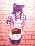 1girl absurdres animal_ear_fluff animal_ears apron bangs blush box brown_footwear cat_ears cat_girl cat_tail commentary_request eyebrows_visible_through_hair frilled_apron frills full_body gift gift_box hair_between_eyes hakama highres holding holding_gift incoming_gift iroha_(iroha_matsurika) japanese_clothes kimono long_hair long_sleeves maid_apron nose_blush original parted_lips pink_kimono purple_hair purple_hakama shoes solo standing tail very_long_hair violet_eyes wa_maid white_apron wide_sleeves