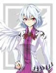 1girl angel_wings bow bowtie breasts brooch closed_mouth commentary_request cowboy_shot dress grey_background hair_between_eyes hand_on_hip jacket jewelry kauchipoteto kishin_sagume looking_at_viewer medium_breasts purple_dress red_bow red_eyes short_hair silver_hair simple_background single_wing smile solo standing touhou white_background white_jacket wings