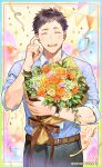 1boy :d absurdres balloon belt bikkusama black_hair black_pants blue_shirt blush border bouquet brown_ribbon closed_eyes collared_shirt commentary_request company_name confetti cowboy_shot dated facing_viewer flower hand_up happy highres id_card lanyard male_focus nijisanji official_art open_mouth outline outside_border pants ribbon rose shirt short_hair sleeves_rolled_up smile solo sparkle standing string_of_flags teeth virtual_youtuber watch watch white_outline yashiro_kizuku