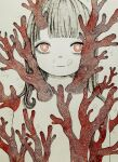 1girl bangs bubble coral coral_reef expressionless highres kapura limited_palette long_hair looking_at_viewer original pink_eyes solo traditional_media upper_body