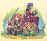 2boys absurdres anbe_yoshirou animal armor arrow_(projectile) belt black_footwear black_gloves black_pants blue_eyes boots boulder bow_(weapon) brown_eyes chain chainmail chobin_hood cleaning_weapon closed_mouth clothed_animal clothing_request commentary_request duran_(seiken_densetsu_3) fingerless_gloves flower gauntlets glint gloves grass handkerchief hawkeye_(seiken_densetsu_3) highres holding holding_bow_(weapon) holding_handkerchief holding_sword holding_weapon hood hood_up indian_style kunai long_hair looking_down male_focus mouth_hold multiple_boys pants paws purple_hair purple_pants quiver redhead seiken_densetsu seiken_densetsu_3 short_sleeves shoulder_armor sitting smile sword tail teeth weapon